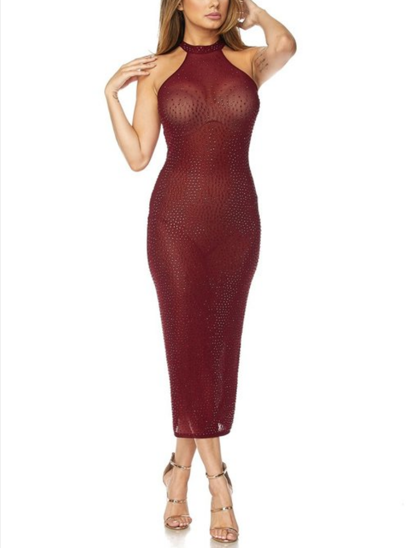 Wine dipped rhinestone midi dress