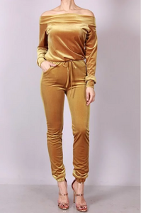 Golden velvet jumpsuit