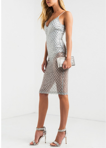 Silver stars sequin dress