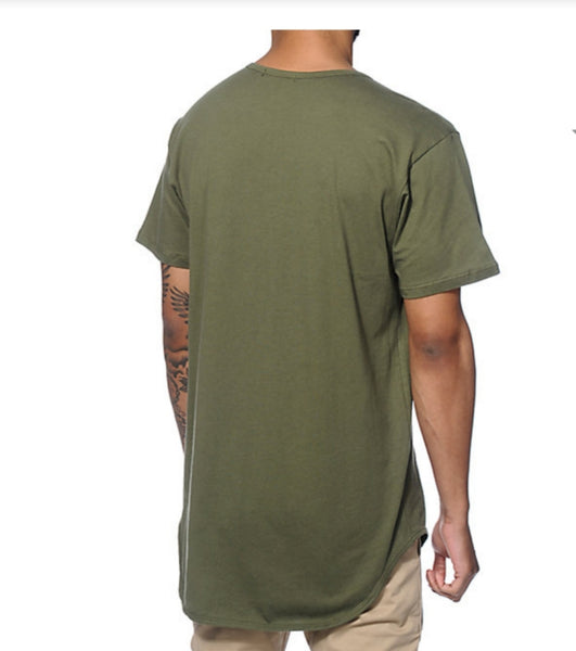 Simple man (scalloped) olive tee