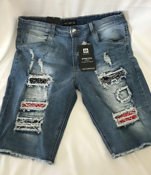 bandana patched denim shorts