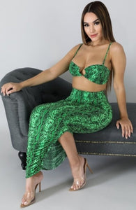 Green venom skirt set