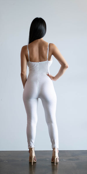 Studded diva (white) bodysuit