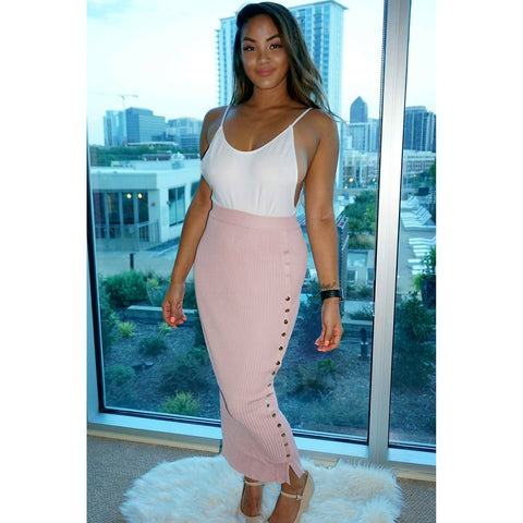 Pop of pink skirt