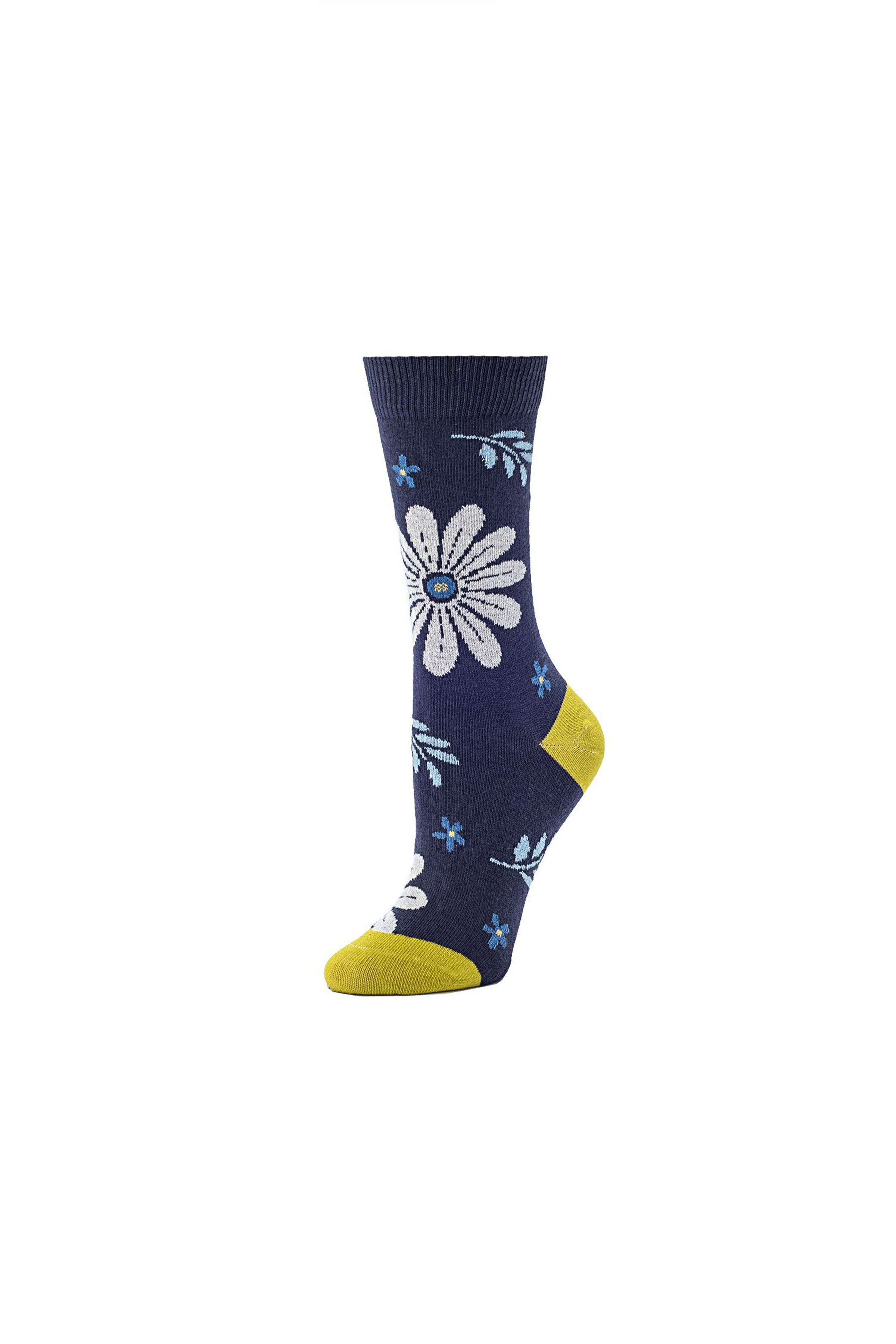 Bohemian Floral Crew- Navy