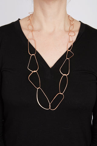Geometric Copper Matte Necklace 32""