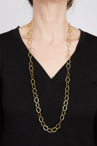 Narrow Matte Brass Necklace