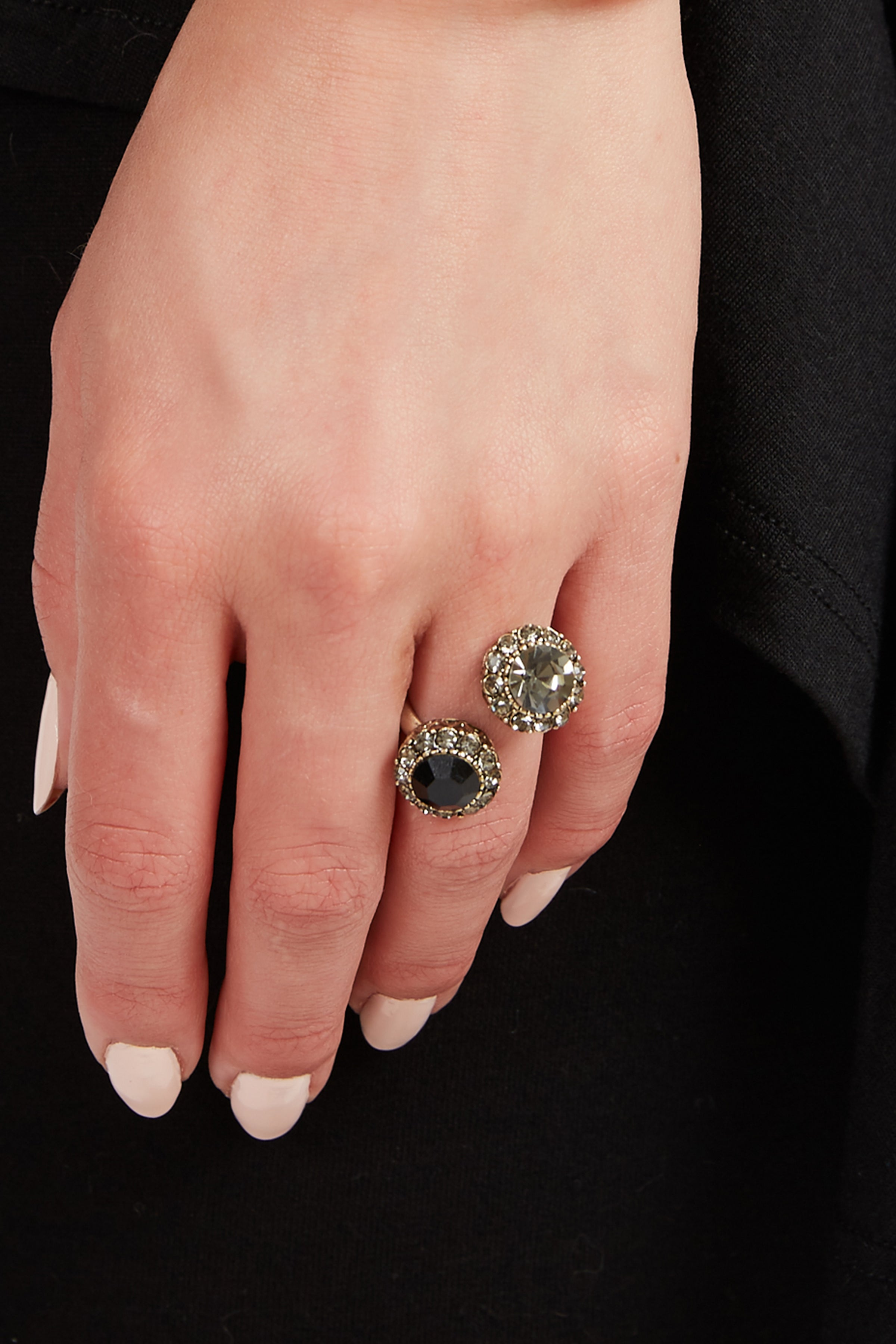 Two-Toned Crystal Ring