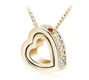 Rhinestone Double Heart Necklace