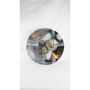 Plate - Grey Abstract Deco Round