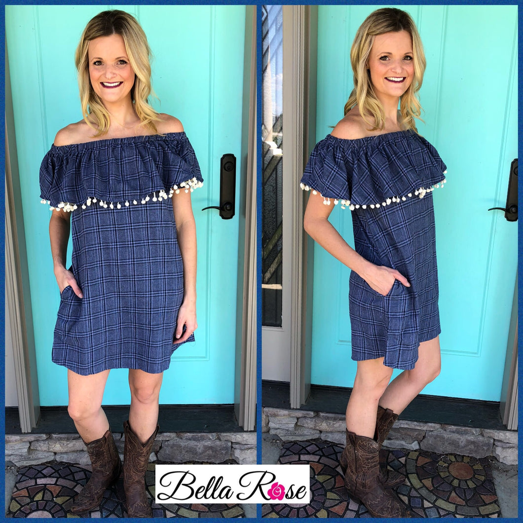 Plaid Chambray Dress - bella-rose-boutique-and-tanning
