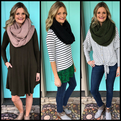 Knit Infinity Scarves - bella-rose-boutique-and-tanning