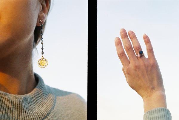 Zoe Alexandria Jewellery look book sun earrings stack rings