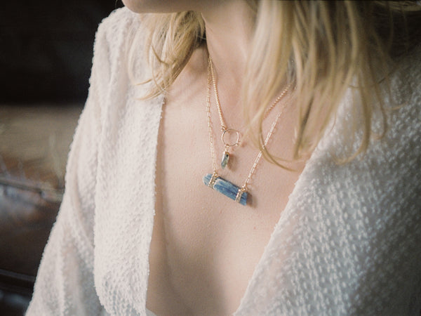 Zoe Alexandria Jewellery look book kyanite and labradortie necklaces