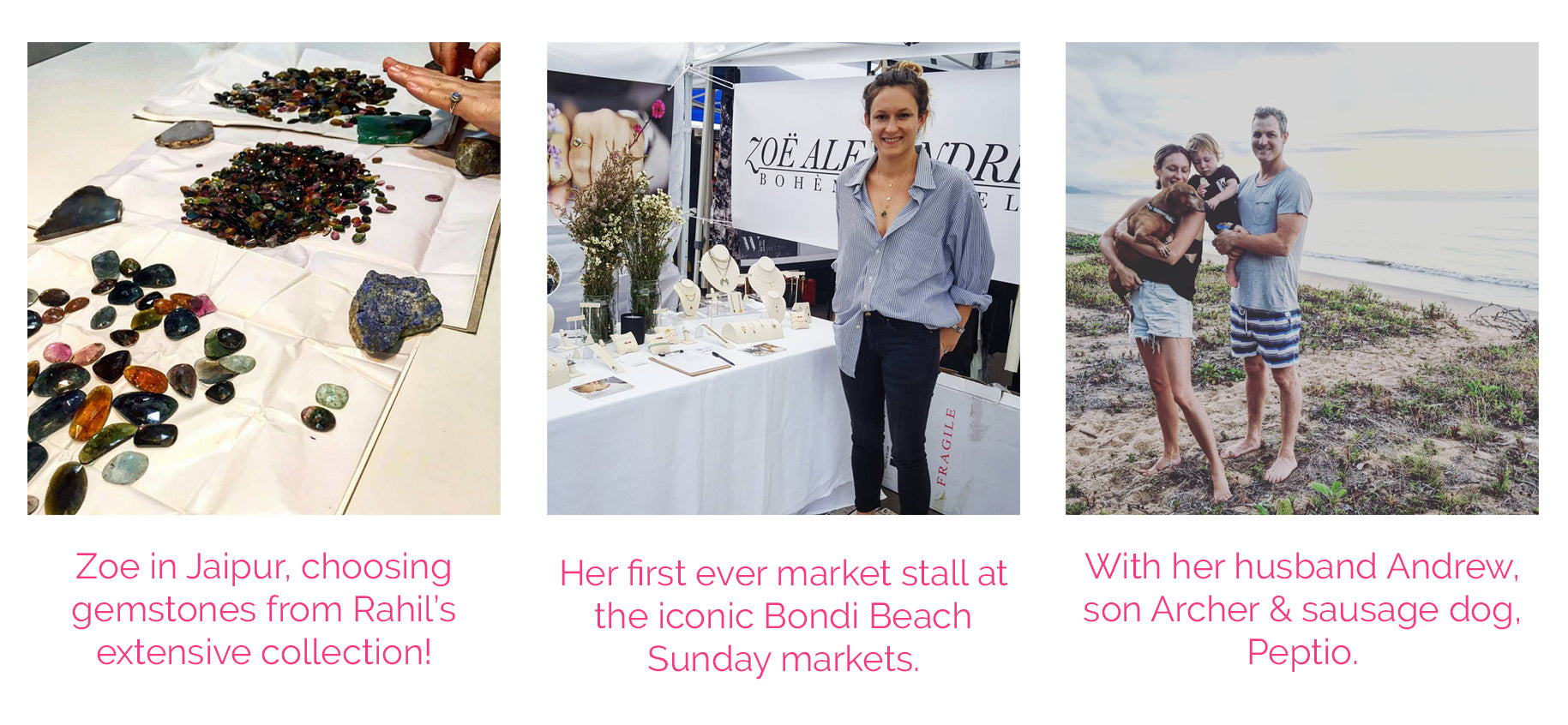 personal photos of Zoe Alexandria, in India, at the Bondi markets and with her family on the beach