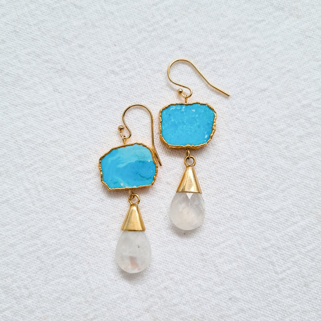 Howlite and Moonstone Earrings - Zoe Alexandria Jewellery