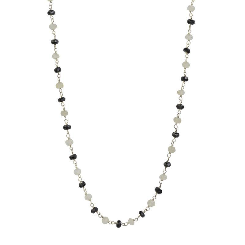 Gemstone Choker - Black Spinel and Moonstone