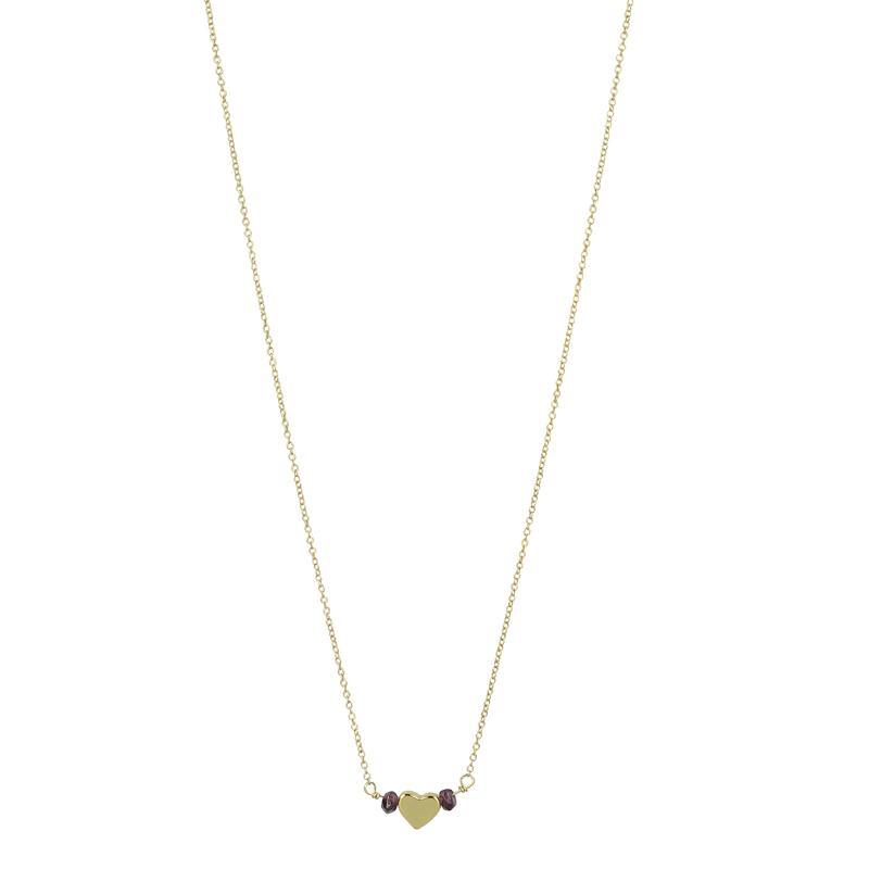 Mini Beaded Heart Necklace - Gold Garnet