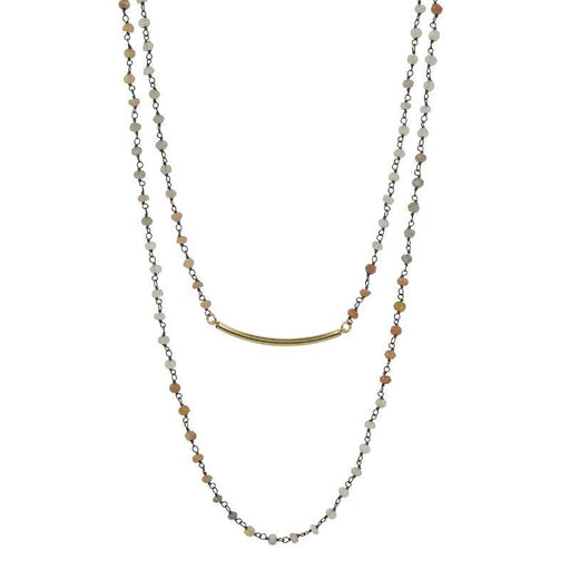 Mixed Moonstone and Gold Bar Double Necklace