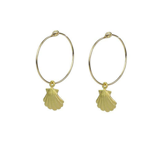 Sea Shell Hoops - Yellow Gold