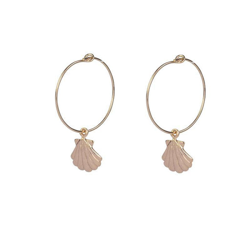 Sea Shell Hoops - Rose Gold