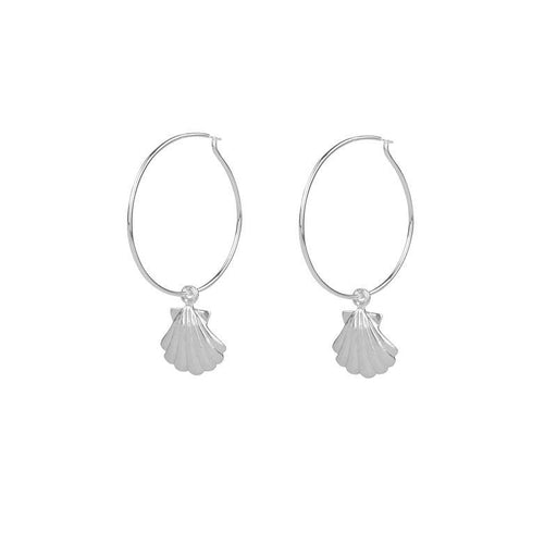 Sea Shell Hoops - Silver
