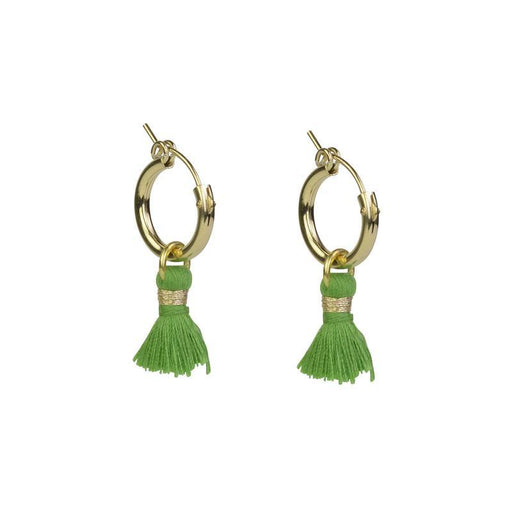 Gold Tassel Hoops - Green