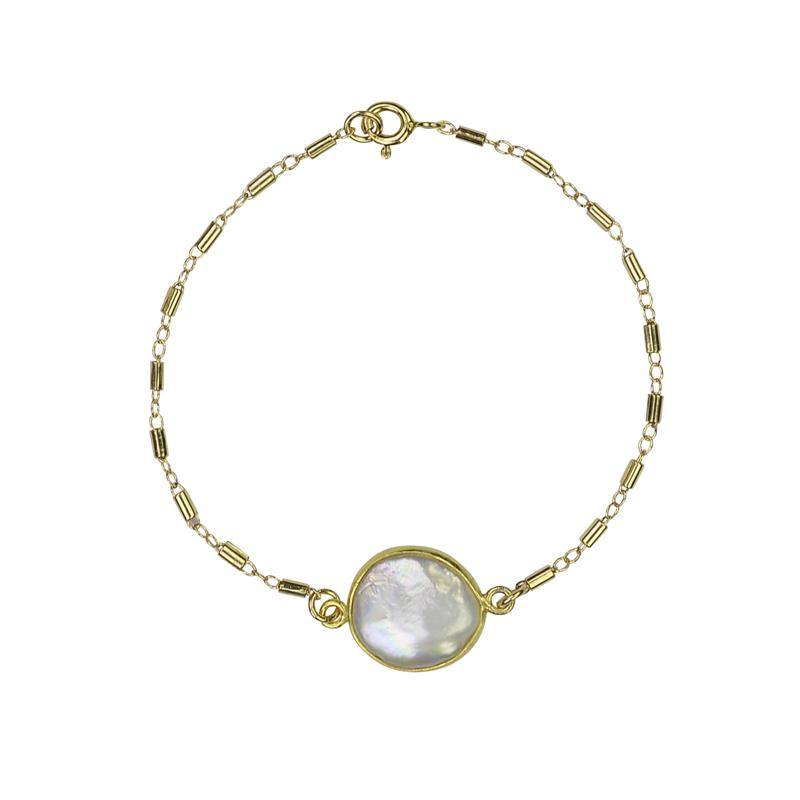 Freshwater Pearl Connector Bracelet - Gold