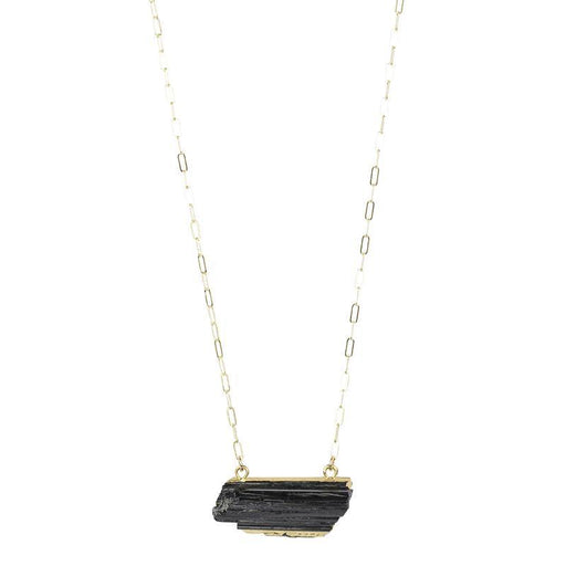 Black Tourmaline Bar Necklace - Gold