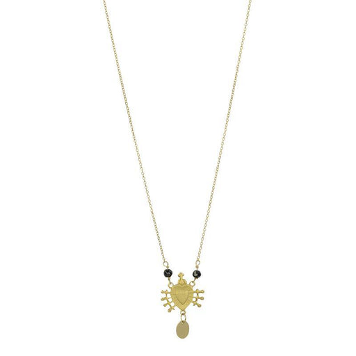 Sacred Heart Necklace - Gold Black Spinel