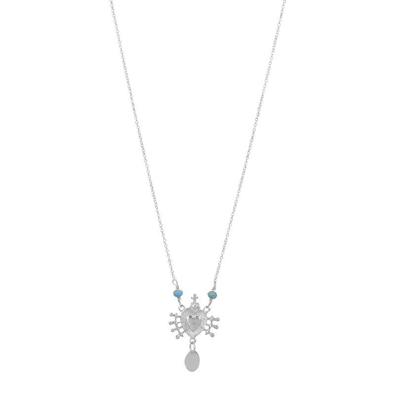 Sacred Heart Necklace - Silver Turquoise