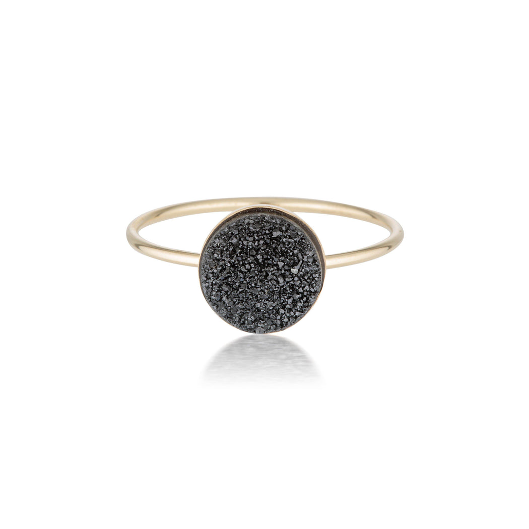 Black Druzy Quartz Ring - Gold