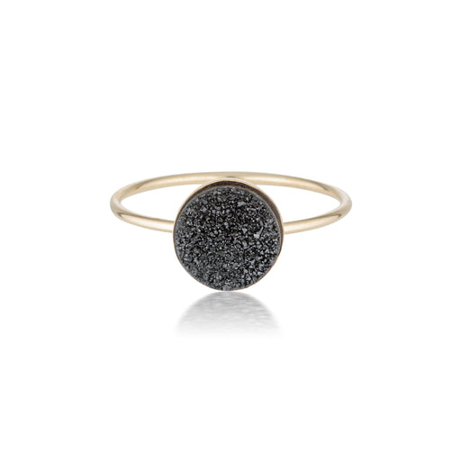 Black Druzy Quartz Ring - Gold - Zoe Alexandria Jewellery