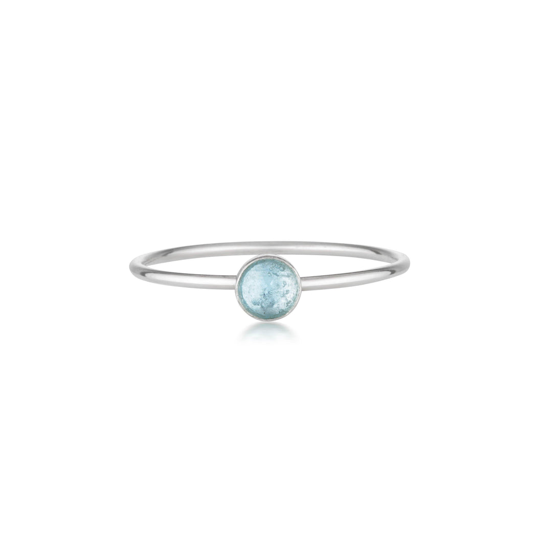 Mini Blue Topaz Ring - Silver