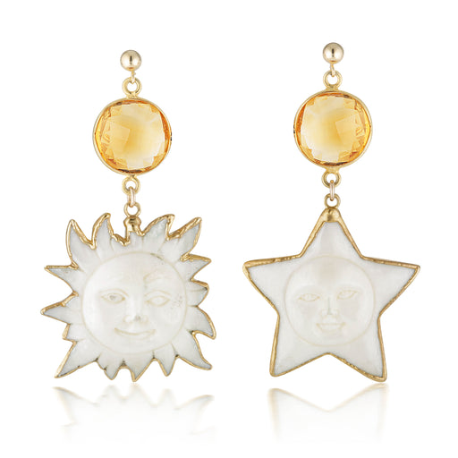 Sun And Star Citrine Earrings