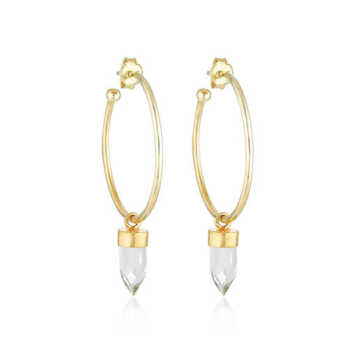 Gold Gemstone Gypsy Hoops - Clear Quartz