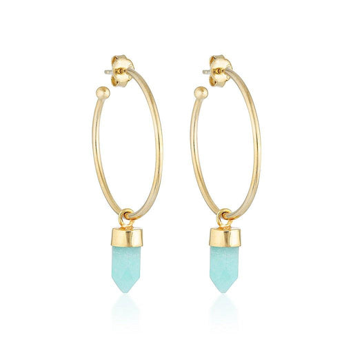Gold Gemstone Gypsy Hoops - Amazonite