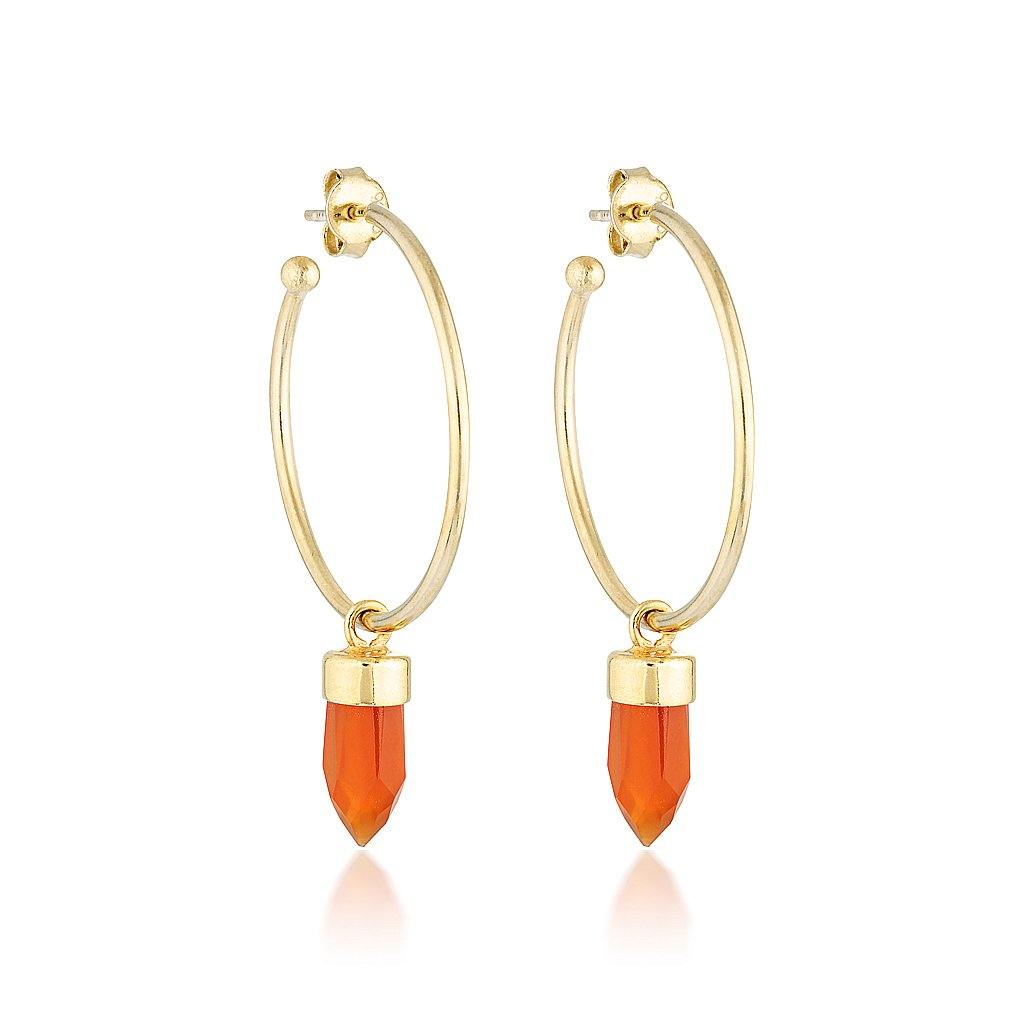Gold Gemstone Gypsy Hoops - Carnelian