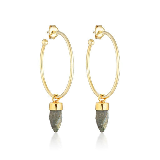 Gold Gemstone Gypsy Hoops - Labradorite