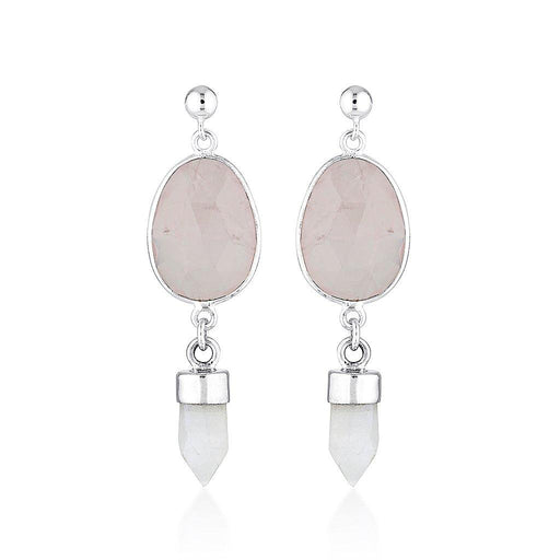 Gemstone Double Drop Earrings - Rose Quartz & Moonstone