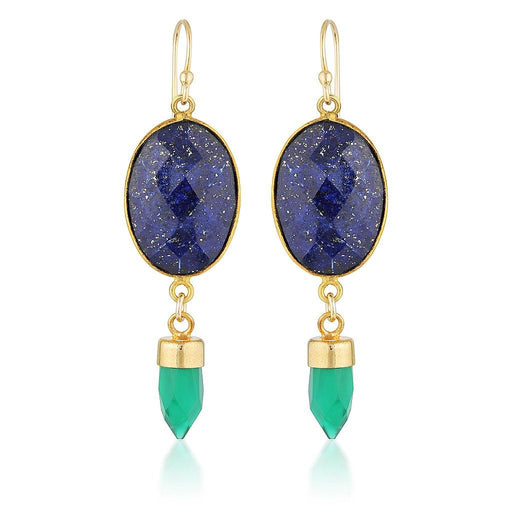 Gemstone Double Drop Earrings - Lapis & Green Onyx