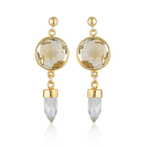 Gold Shield Earrings - Citrine & Clear Quartz