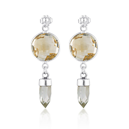 Silver Shield Earrings - Citrine & Clear Quartz