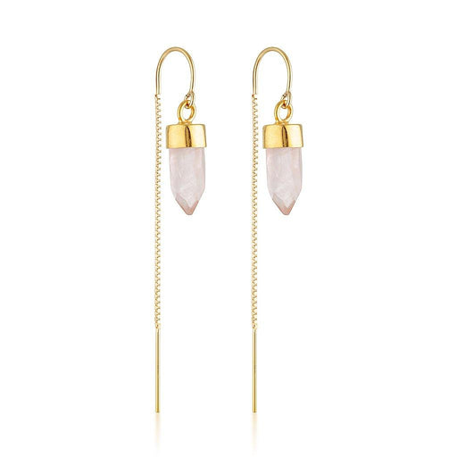 Gold Gemstone Spike Threaders - Rose Quartz