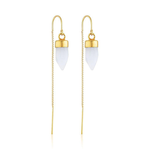 Gold Gemstone Spike Threaders - Chalcedony