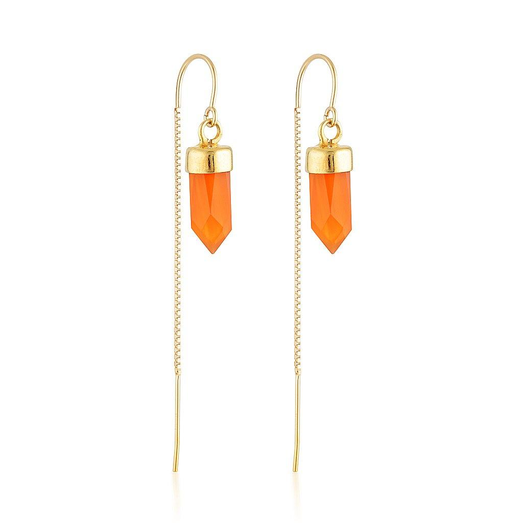 Gold Gemstone Spike Threaders - Carnelian