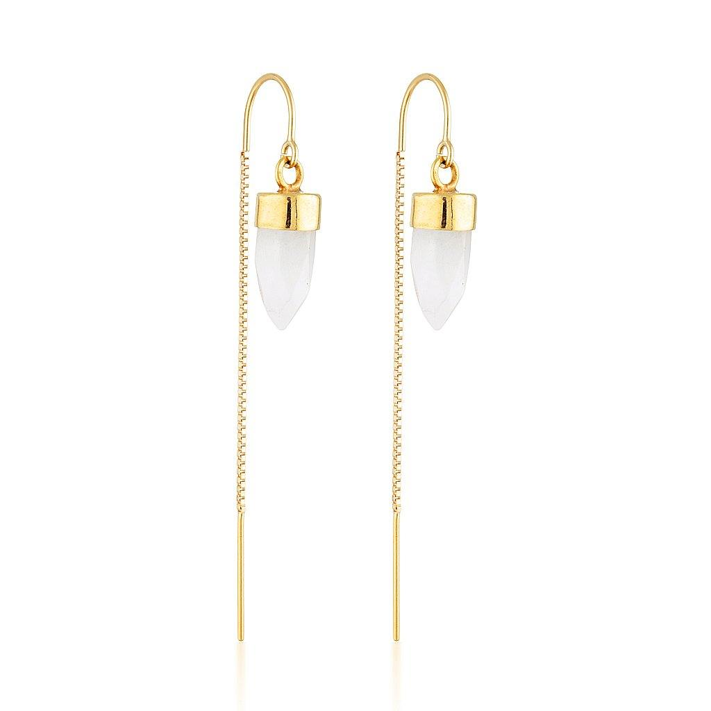 Gold Gemstone Spike Threaders - Moonstone