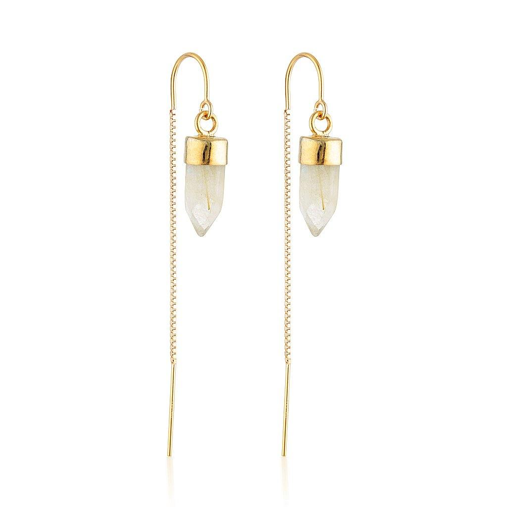 Gold Gemstone Spike Threaders - Rutile Quartz