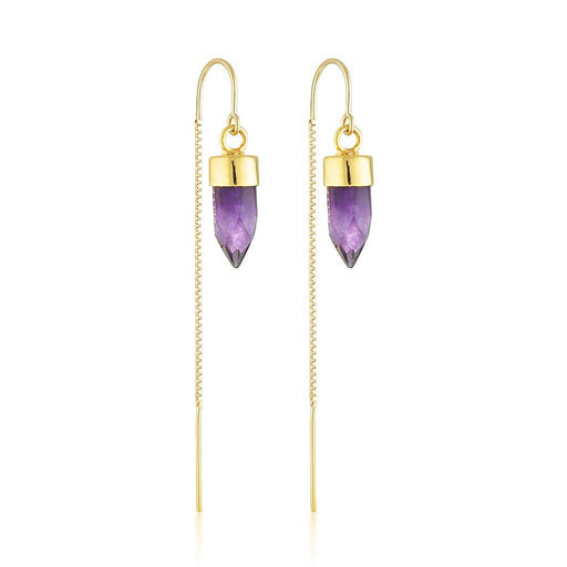 Gold Gemstone Spike Threaders - Amethyst