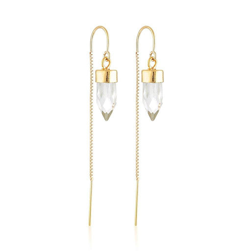 Gold Gemstone Spike Threaders - Clear Quartz